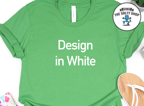 White Design on Leaf Green Shirt