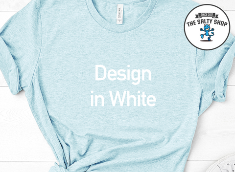 White Design on Light Blue Shirt