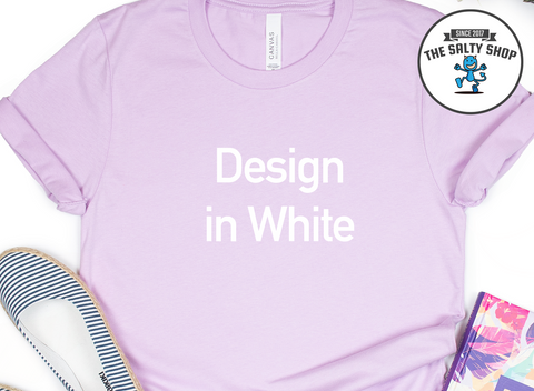 White Design on Lilac Shirt