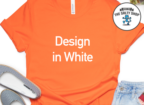 White Design on Orange Shirt