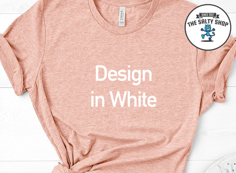 White Design on Peach Shirt