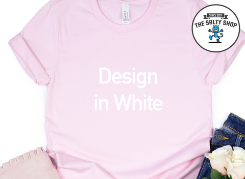 White Design on Pink Shirt