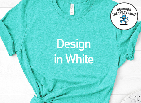 White Design on Sea Foam Shirt