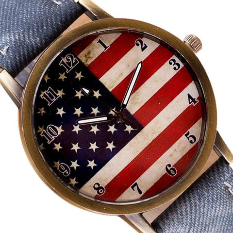 Denim American Flag Women's Watch