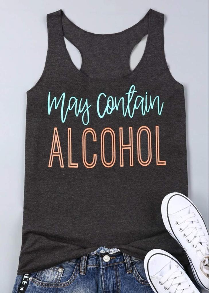 'May Contain Alcohol' Funny Drinking Tank Top