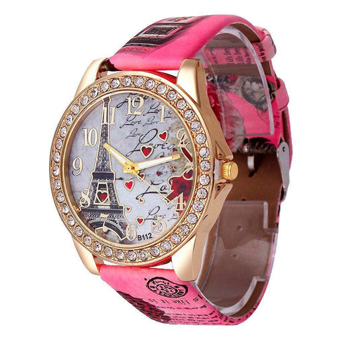 Dark Pink Paris Rhinestone Studded Women's Watch
