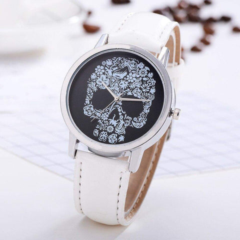 'Skull' Women's White, Black or Blue Watch