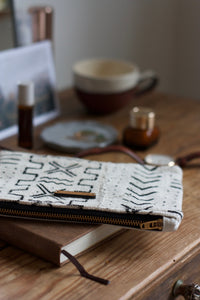 Mudcloth Purse - White