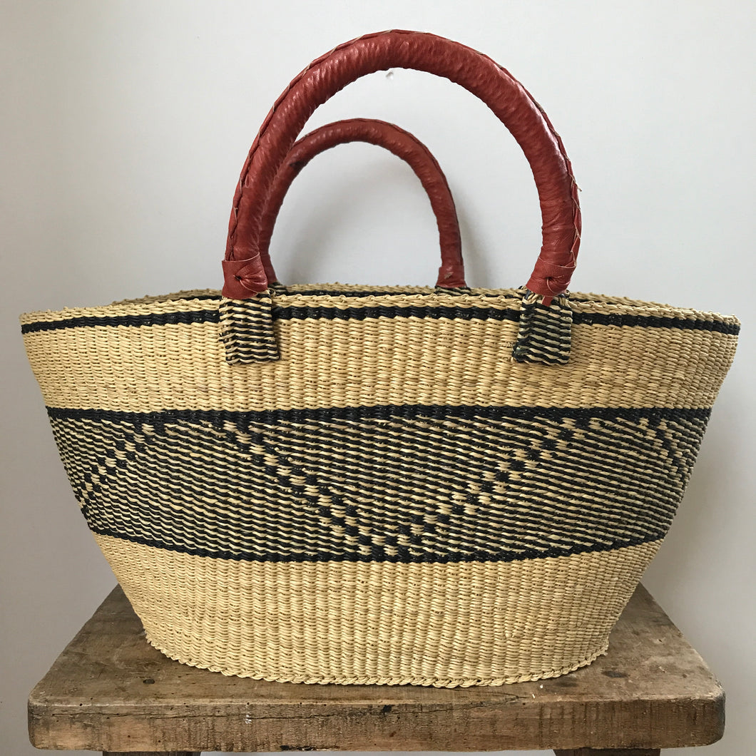 Navy and Natural Banded Shopper