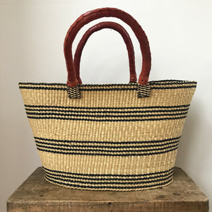 Navy and Natural Striped Shopper