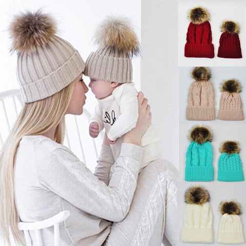 Mommy and Me, Baby Knitted Hat Caps for Girls, Toddler Crochet Beanies, Fur Ball Cute Baby Boys Hats, Family Cap 2 Pcs Gorros Para Bebe