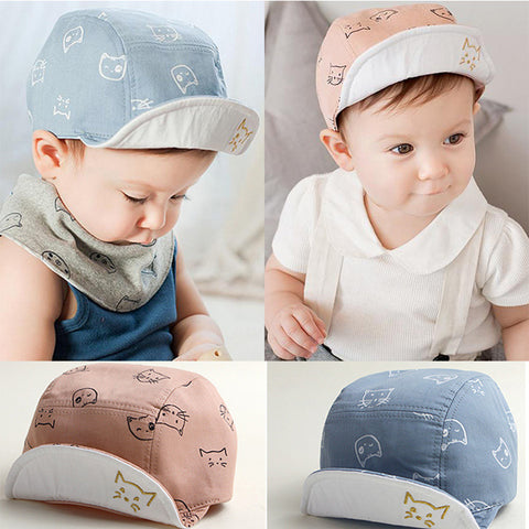 DreamShining Fashion Cat Baby Hats Unisex Girls Boys Baseball Caps Beanie Cartoon Summer Sun Hat Newborn Cotton Visor Hats Caps