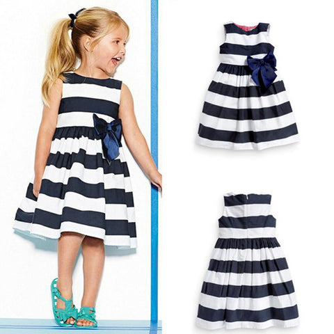 Girl's Blue Striped Sleeveless Dress