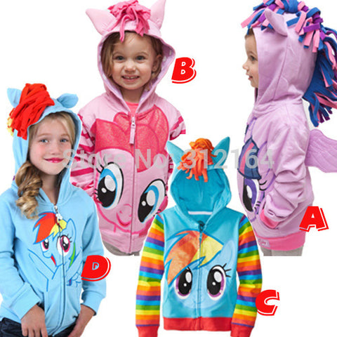 My Little Pony Girls Hoodie Jacket, Girls Cotton Jacket Children Clothing