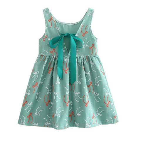 Girl's Bow Printed Dress