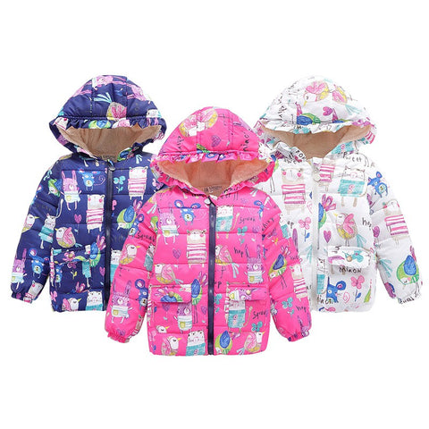 Girls Hooded Cartoon Print Winter Coat, Jacket Outwear 2-7Y