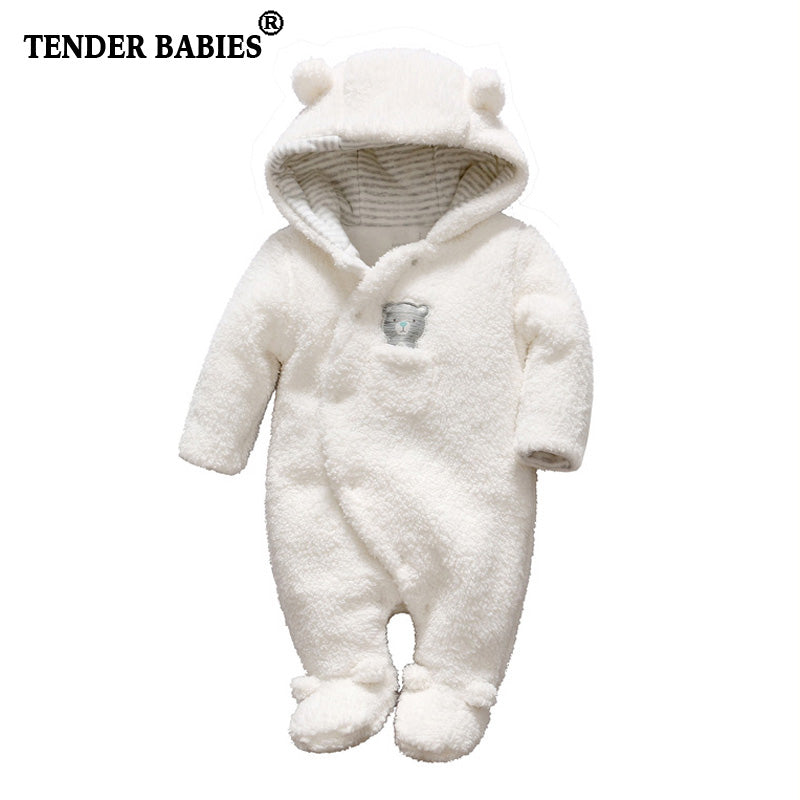 3dcfe6854a2 ... Tender Babies Newborn baby clothes bear onesie baby girl boy rompers  hooded plush jumpsuit winter overalls ...