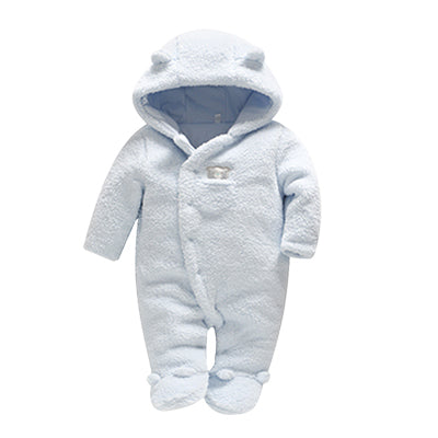 f8b00d432be Tender Babies Newborn baby clothes bear onesie baby girl boy rompers hooded  plush jumpsuit winter overalls ...