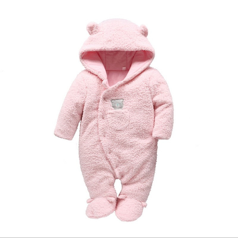 Tender Babies Newborn baby clothes bear onesie baby girl boy rompers hooded plush jumpsuit winter overalls for kids