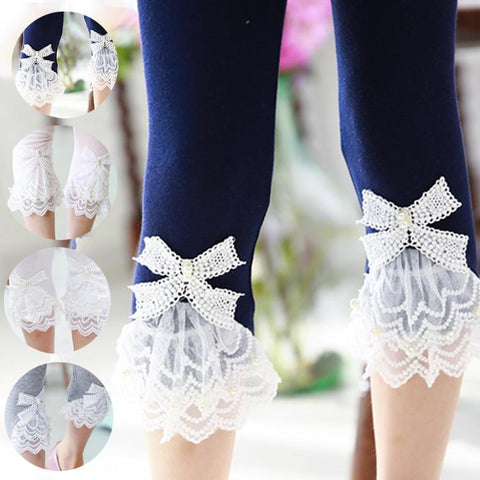 Girl's Bow Lace  Calf-length Leggings