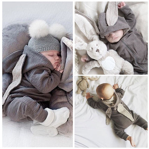 Newborn Infant Baby Boy Clothes Cute 3D Bunny Ear Romper Jumpsuit Playsuit Autumn Winter Warm Baby Rompers One Piece