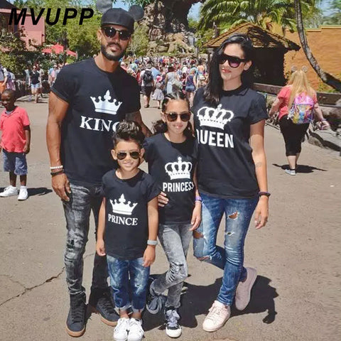 Family matching clothes father, mother, daughter, son.  Crown t-shirt daddy, mommy and me.  King, Queen.
