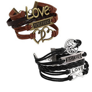 2pc Vintage Multilayer Charm Infinity Love Best Wish Wrap Cuff Bracelet