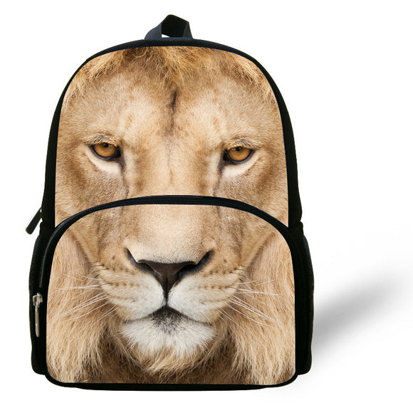 Fashion 12-inch Lion School Bag Kids Backpack Boys Animal Prints Age 1-6 Chidren Lion Head Backapck For School Casual Daypack