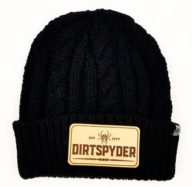 DIRTSPYDER CUSTOM LEATHER PATCH BEANIE (BLACK)