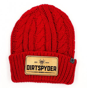 DIRTSPYDER CUSTOM LEATHER PATCH BEANIE (RED)