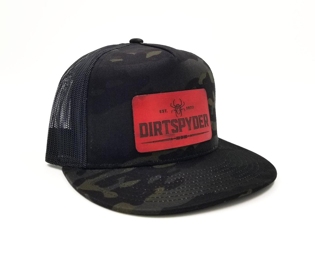 DIRTSPYDER BLACK CAMO LEATHER PATCH SNAPBACK