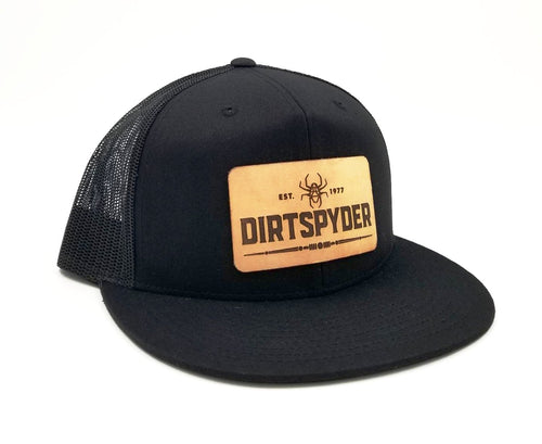 DIRTSPYDER BLACK/BLACK LEATHER PATCH TRUCKER HAT
