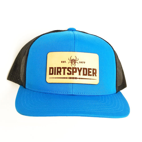 CUSTOM DIRTSPYDER LEATHER PATCH TEAL/BLACK TRUCKER HAT