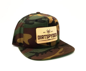 DIRTSPYDER CAMO LEATHER PATCH SNAPBACK