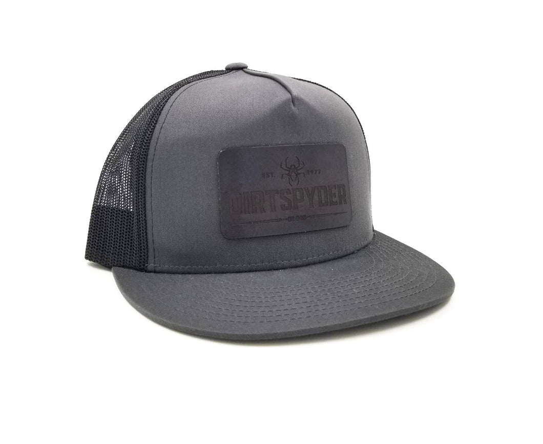 DIRTSPYDER GRAY/BLACK LEATHER PATCH TRUCKER HAT