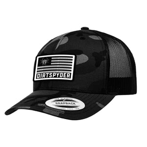 DIRTSPYDER PATRIOT CURVED BILL BLACK CAMO TRUCKER HAT