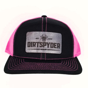 CUSTOM DIRTSPYDER LEATHER PATCH PINK/BLACK TRUCKER HAT