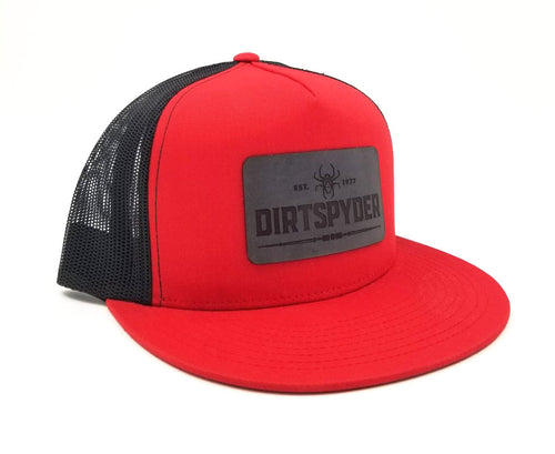 DIRTSPYDER RED/GRAY LEATHER PATCH TRUCKER HAT