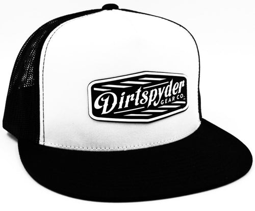 DIRTSPYDER RUBBER PATCH WHITE/BLACK TRUCKER SNAPBACK
