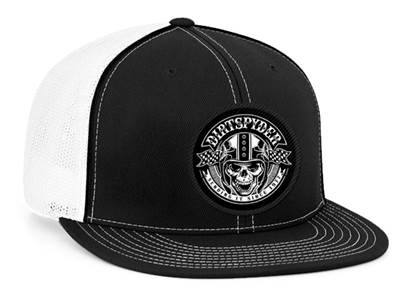 DIRTSPYDER FITTED TRUCKER SENDING IT HAT (WHITE/BLACK)