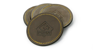 PUMA leather coaster with gold stitching (set of 4)