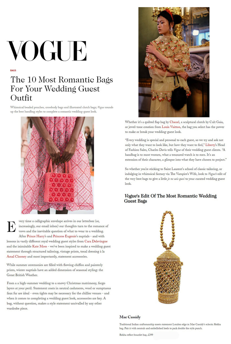 British Vogue Features Mae Cassidy | The 10 Most Romantic Bags For Your Wedding Guest Outfit!