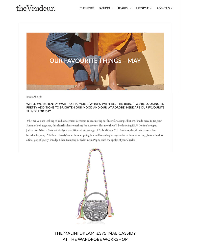 Our Favourite Things in May | The Vendeur Feature new Mae Cassidy SS19 Malini Dream