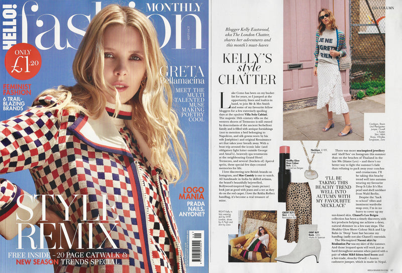 'Mae Cassidy is One To Watch' | The London Chatter features Mae Cassidy in Hello Fashion's September Issue of 'Kelly's style Chatter'.