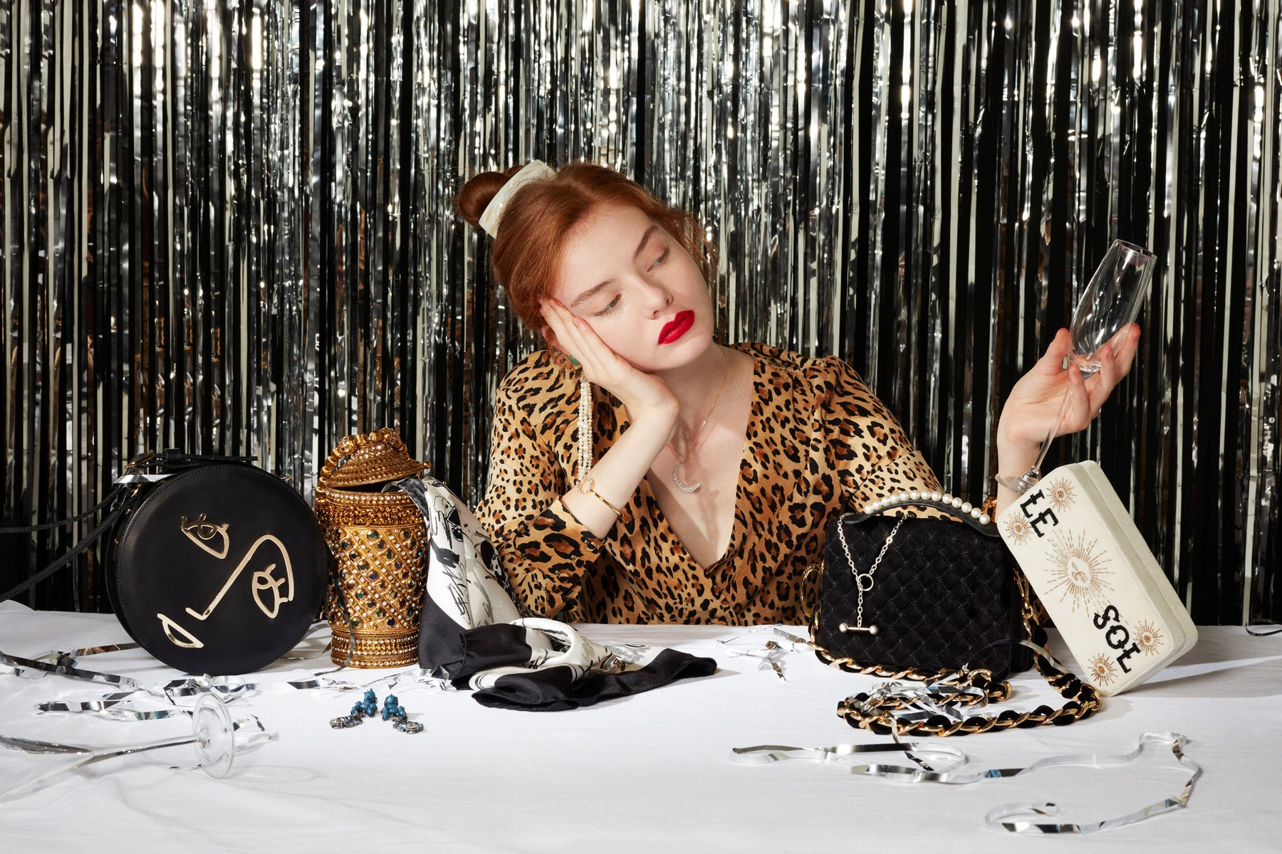 The best upscale Christmas party accessories gifts for her of the season new years eve Pheonix Magazine features Mae Cassidy Rekha Reflect Bracelet cgold sparkly clutch bag November danish electro pop queen MØ Razorlight autumn fashion shopping Aspinal of London black & white print scarf leopard print snimal print Frame dress France Luxe Caramel Horn hair clip, Magda Butrym pearl drop Earrings Apples & Figs moon Necklace gold Tommy Hilfiger bangle Photographer Tom Hartford Model Alyda at Milk Management Accessories Editor Lucy Kebbell Hair Stylist Reve Ryu Bumble & Bumble UK MUA & Nails Anna Payne Bobbi Brown