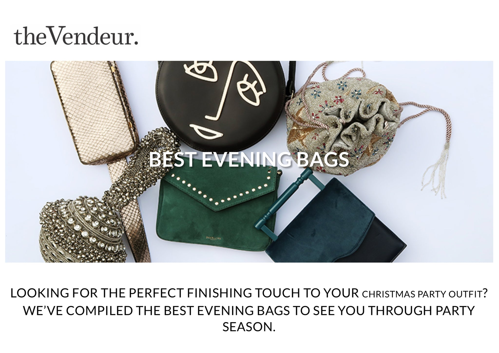 Fashion blog The Vendeur Mae Cassidy Best Evening Bags to see you through the Party Season outfit SHOP THE silver embellished sparkly SIMI SPARKLE CLUTCH BAG NOW beautiful accessories Christma glamour beading tassels Christmas New Year season topshop velvet trouser suit sequins kurt Geiger bejewelled christmas party outfit
