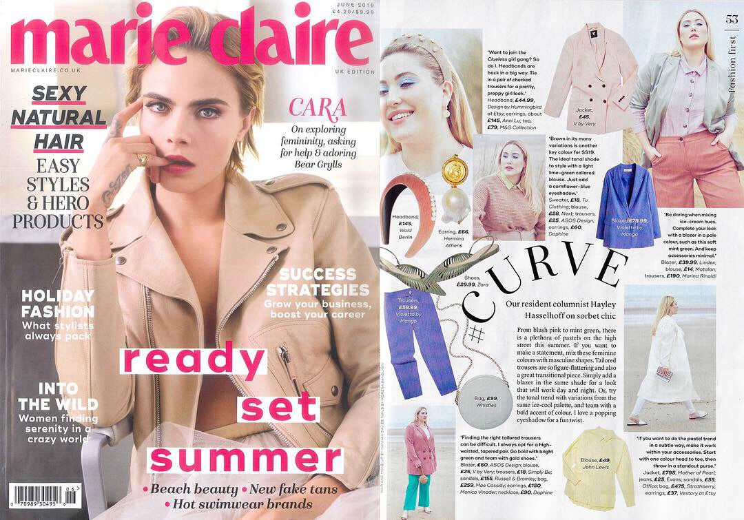 cara delevingne Mae Cassidy feature Marie Claire's June Issue 2019. Resident columnist Hayley Hasselhoff styles our Antique Gold Simi Sparkle clutch bag Curve Column, 'Sorbet Chic' blush pink mint green pastel trends high street  Antique Gold Simi Sparkle oversized tailored Cord pink ASOS blazer white V by Very shirt colour green trousers accessorised gold hues Russel Bromley gold leather heeled sandal's Monica Viander Necklace Daphine earrings gold silver Simi Sparkle clutch bag handbag occasionawear perfect addition to any outfit for effortless
