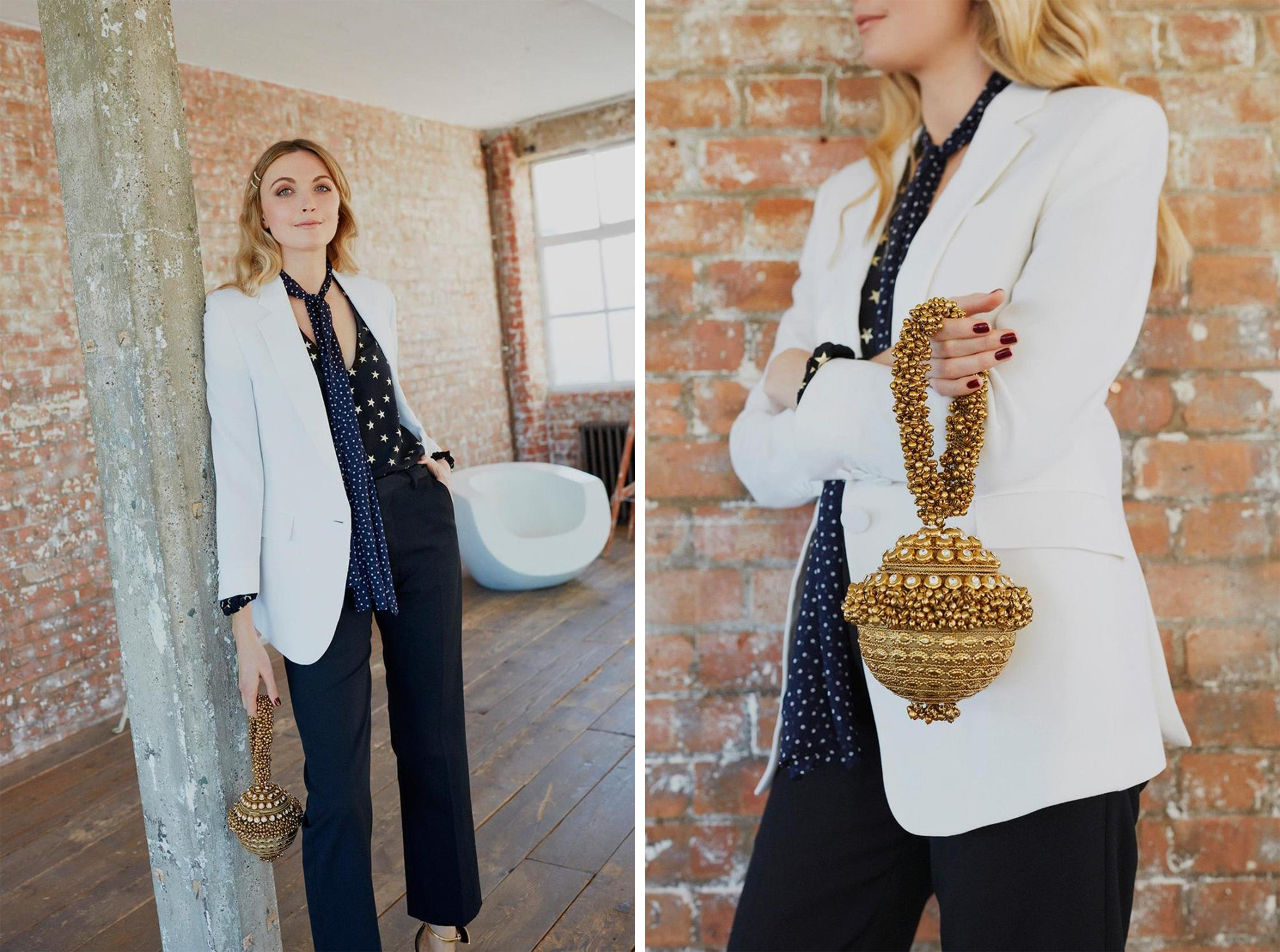 8ef6e3cfbfb2af Jane pairs the antique gold crystal Simi Sparkle bracelet clutch bag (£259)  with a white tailored Paul Smith Blazer (£785), polka-dot star printed Rixo  ...