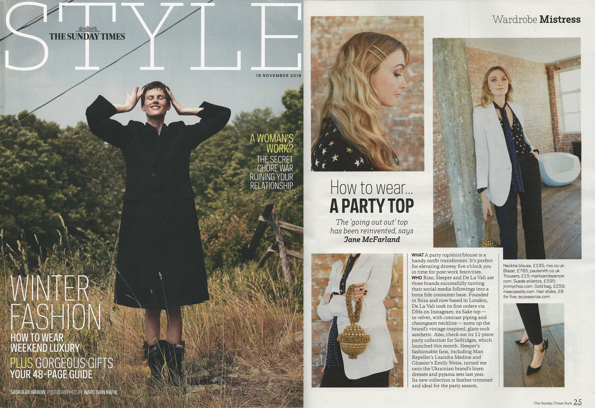 Sunday Times Style's  Mae Cassidy antique gold  Simi Sparkle clutch bag Luxury November Issue Fashion Director Jane Mcfarland styles best party season outfit Wardrobe Mistress antique gold crystal sparkly Simi Sparkle bracelet clutch bag white tailored Paul Smith Blazer polka-dot star printed Rixo necktie blouse Marks and Spenser jeans Accessorize hair slides gifts for her Christmas New Years eve