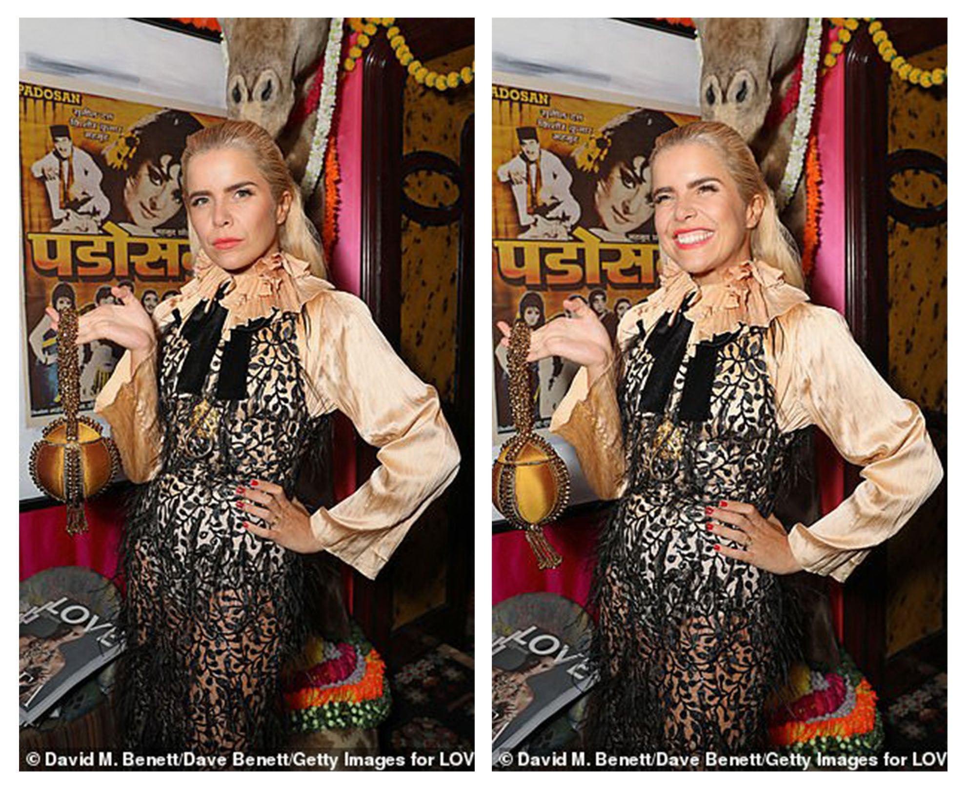 VOGUE EVENING STANDARD DAILY MAIL OK Award-winning singer-Songwriter and one the most successful British Female artists of the last decade; Paloma Faith wears the Mae Cassidy, Butterscotch, 'Babi Bracelet' to the LOVE Magazine's star studded, London Fashion Week Bash.  Zeynep Kartal dress, Found And Vision shirt and Necklace and Christian Louboutin Shoes. Styled by Rebekka Fellah, with Make-Up by Lan Nguyen-Grealis and Photography by Dave Benett. Gold yellow clutch bag GETTY IMAGES